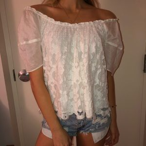 Anthropologie White Lace Floral Blouse